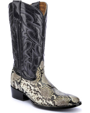 Circle G Natural Belly Cut Python Cowboy Boots - Round Toe, Natural, hi-res
