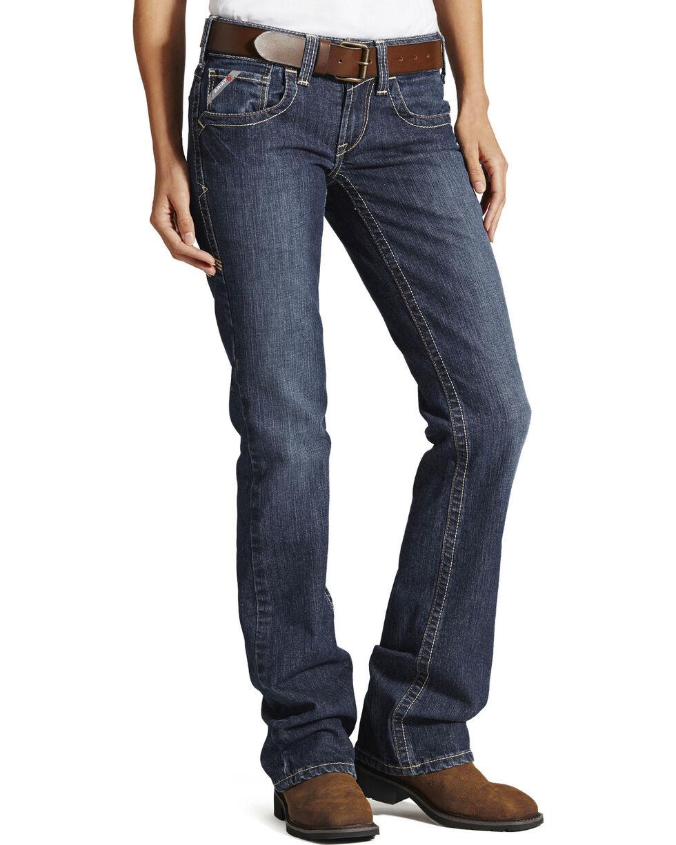 Ariat Women's Mid Rise Flame Resistant Boot Cut Jeans, Denim, hi-res