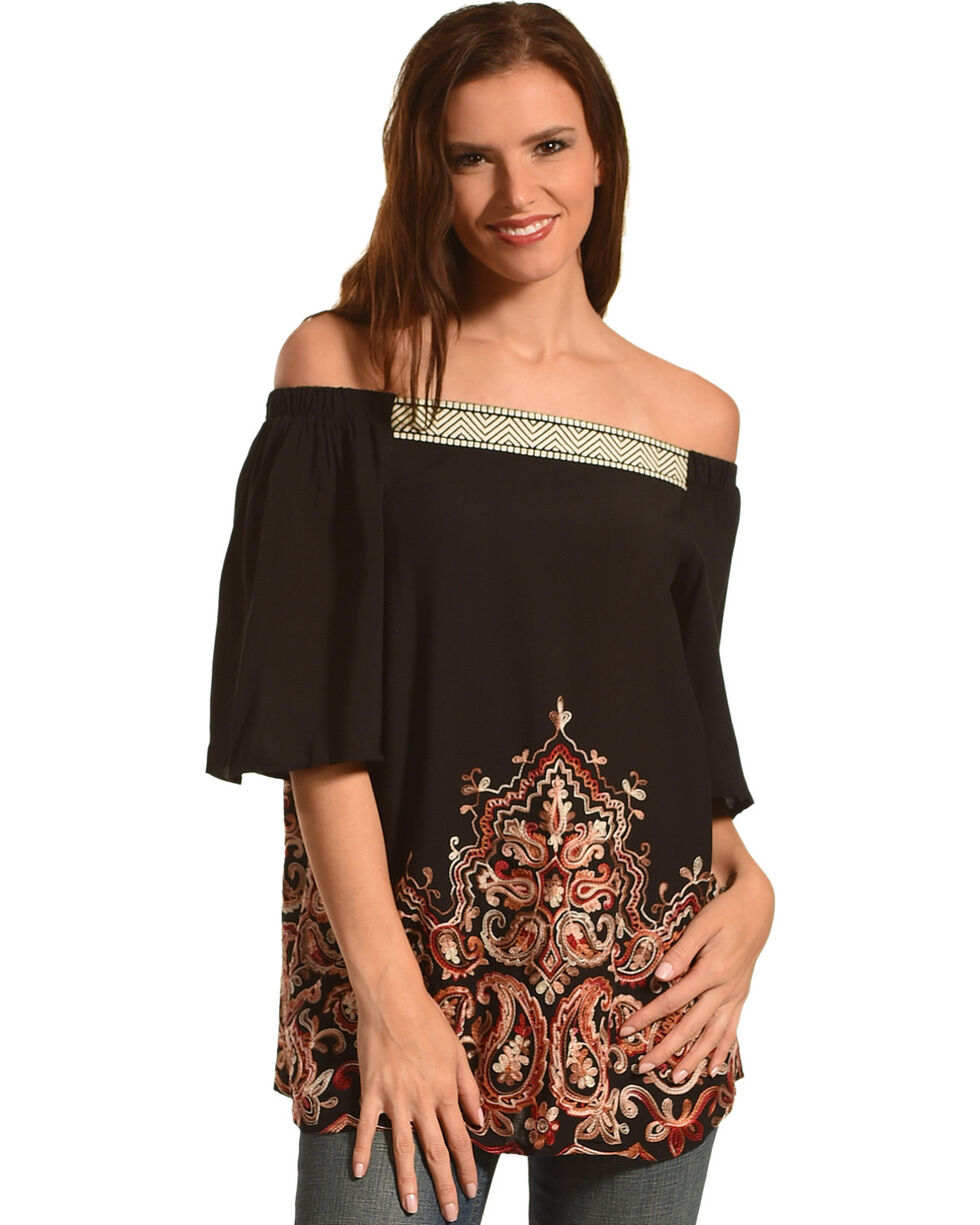 Miss Me Women's Paisley Printed Off The Shoulder Top, Black, hi-res