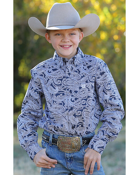 Cinch Boys' Navy Paisley Print Western Shirt , Navy, hi-res