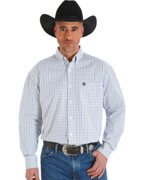 Wrangler Men's White George Strait Plaid Button-Up Shirt , White, hi-res