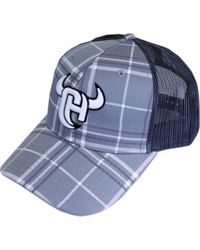 Cowboy Hardware Men's Plaid Snap Back Ball Cap, Grey, hi-res
