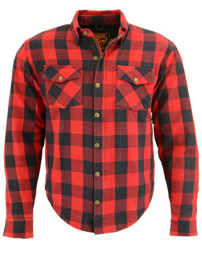 Milwaukee Performance Men's Black/Red Aramid Checkered Flannel Biker Shirt - 4X, Black/red, hi-res