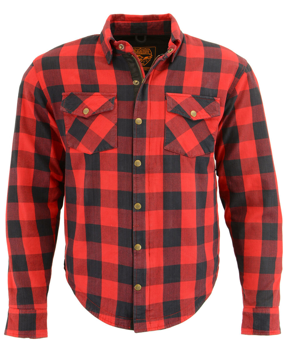 Milwaukee Performance Men's Black/Red Aramid Checkered Flannel Biker Shirt - 4X, Black/red, hi-res