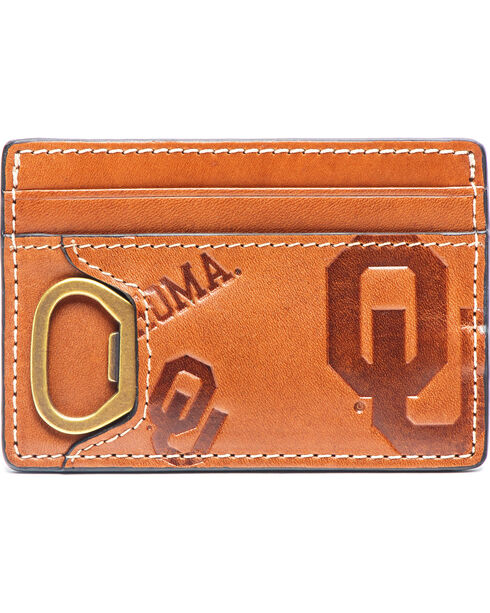 Jack Mason Men's Oklahoma Sideline ID Card Case , Brown, hi-res
