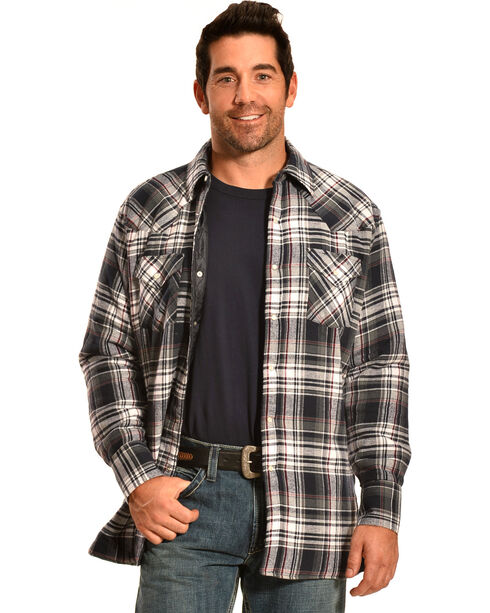 Ely Cattleman Men's Navy Blue Plaid Quilted Flannel Jacket Shirt , Navy, hi-res