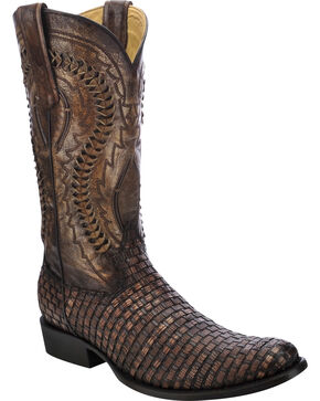 Corral Men's  Braided Lizard Vamp Exotic Boots, Cognac, hi-res