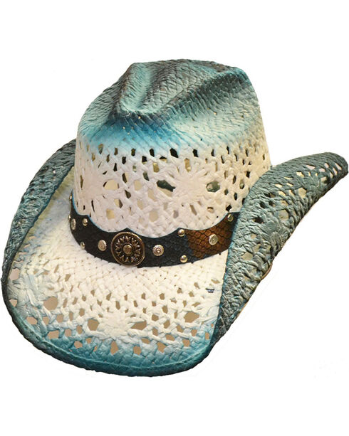 Western Express Women's Aqua Blue Straw Hat, Aqua, hi-res