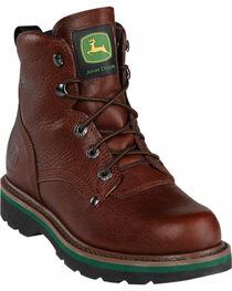 "John Deere Men's 6"" Lace-Up Work Boots, Mesquite, hi-res"