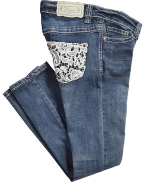 Shyanne Kids' Lace Pocket Jeans - Skinny, Medium Blue, hi-res