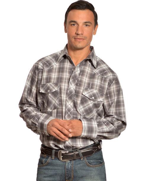 Gibson Trading Co. Grey Plaid Lurex Shirt, Grey, hi-res