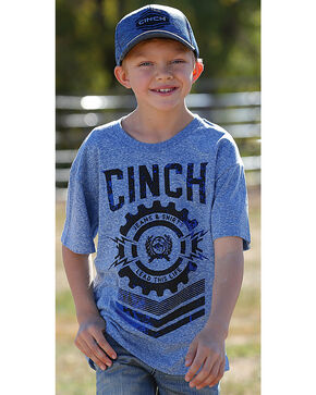 Cinch Boys' Logo Short Sleeve T-Shirt, Blue, hi-res