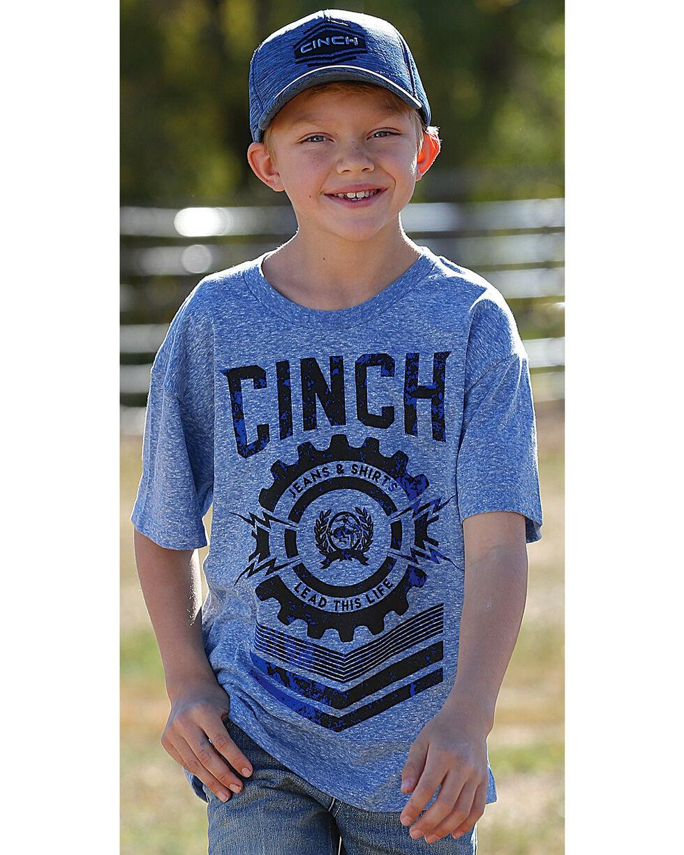 Cinch Boys' Logo Short Sleeve T-Shirt, Blue, hi-res