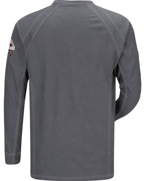 Bulwark Men's Grey iQ Series Flame Resistant Henley Shirt , Charcoal Grey, hi-res