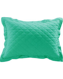 HiEnd Accents Diamond Pattern Quilted Turquoise Linen King Sham, Turquoise, hi-res