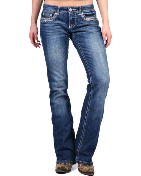 Shyanne® Women's Faux Leather Striped Boot Cut Jeans, Blue, hi-res