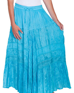 Scully Women's Embroidered Maxi Skirt, Turquoise, hi-res
