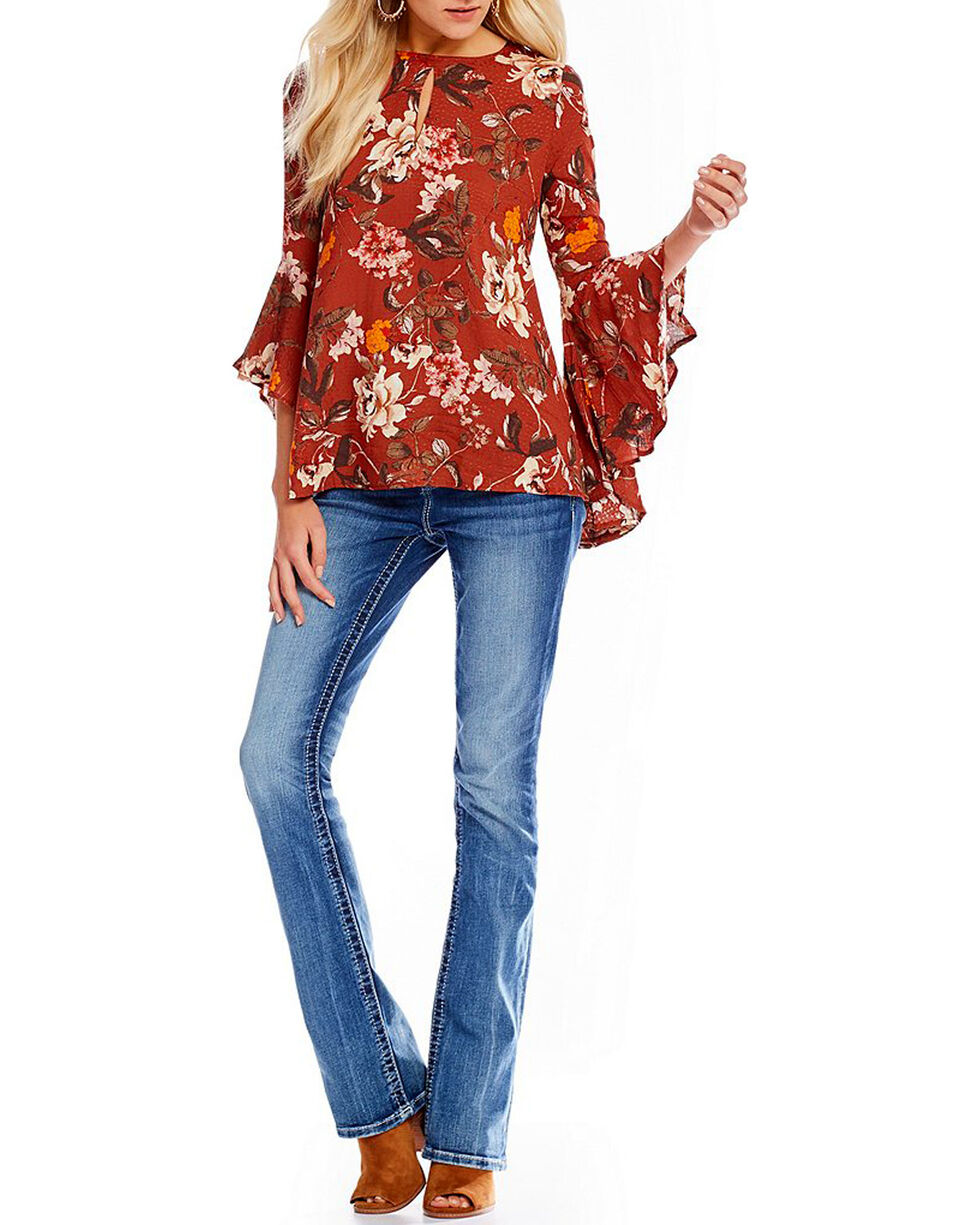 Miss Me Women's Floral Print Bell Sleeve Peasant Top, , hi-res