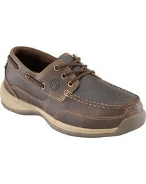 Rockport Works Women's Sailing Club Boat Shoes - Steel Toe, Brown, hi-res