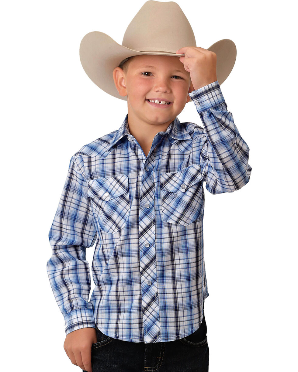 Roper Boys' Blue/White Plaid Long Sleeve Western Snap Shirt, Blue, hi-res