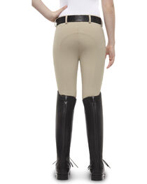 Ariat Girls' Olympia Low Rise Front-Zip Knee Patch Breeches, , hi-res