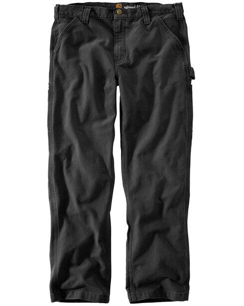 Carhartt Men's Weathered Duck Dungaree Pants, Black, hi-res