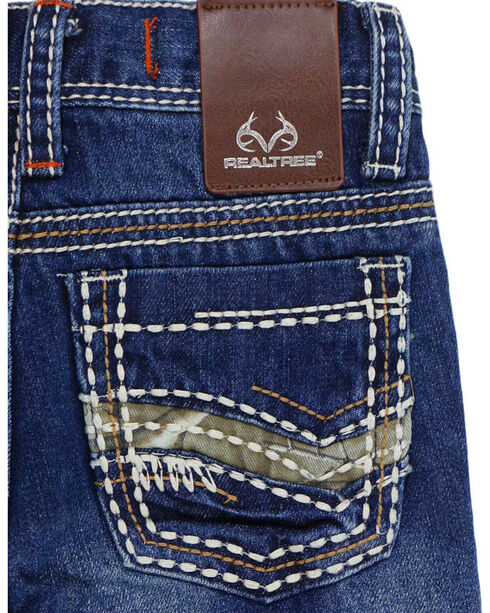 Realtree Boys' Camo Accented Boot Cut Jeans, Blue, hi-res