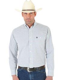 Wrangler George Strait White and Black Plaid Oxford Shirt - Tall, , hi-res