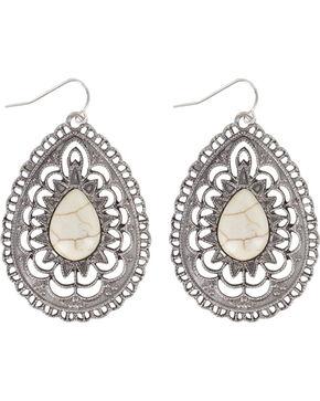 Shyanne® Women's Oval Bone Earrings, Silver, hi-res