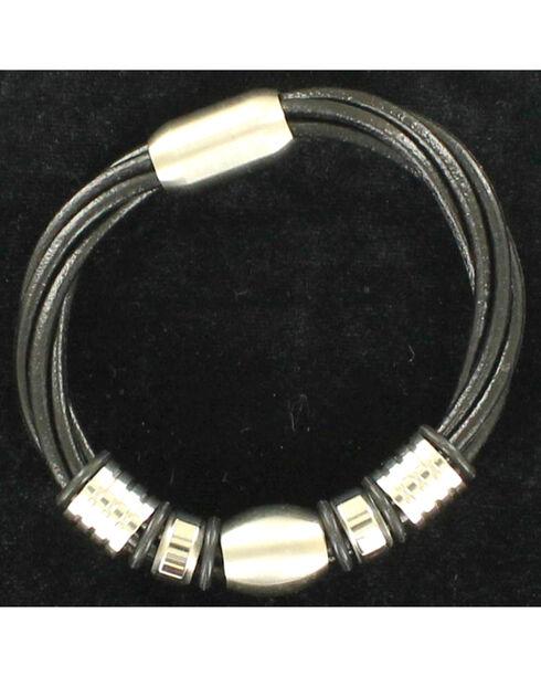 Twister Men's Twisted Four Strand Bracelet , Black, hi-res