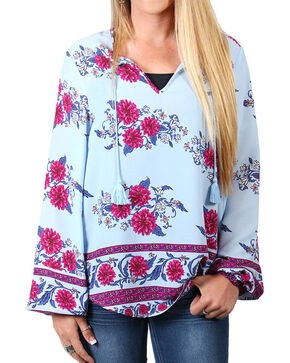 Shyanne® Women's Floral Long Sleeve Blouse, Light/pastel Blue, hi-res