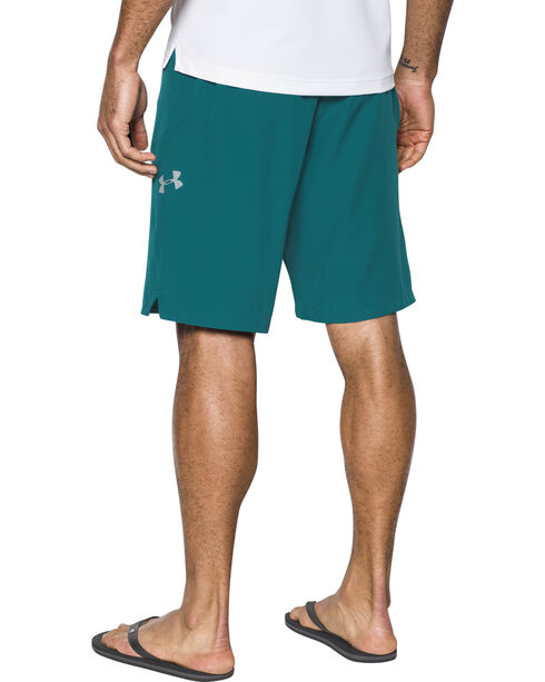 Under Armour Men's Light Grey Solid Board Shorts, Teal, hi-res