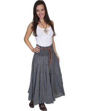Scully Women's Acid Wash Broomstick Skirt, Charcoal Grey, hi-res