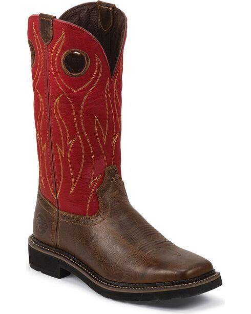 Justin Men's Stampede Quilt Stitch Work Boots, Barnwood, hi-res