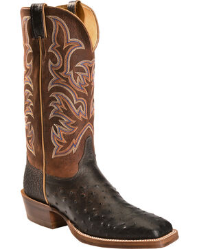 Justin Men's Full Quill Ostrich Boots, Black, hi-res