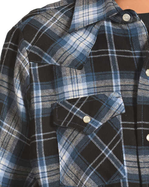 Ely Cattleman Boys' Blue Flannel Western Plaid Shirt , Blue, hi-res
