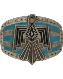 Rock 47 by Montana Silversmiths Tribal Flair Blue Phoenix Attitude Buckle, , hi-res