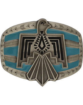 Rock 47 by Montana Silversmiths Tribal Flair Blue Phoenix Attitude Buckle, Antique Silver, hi-res