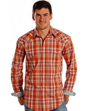 Rough Stock by Panhandle Men's Cody Vintage Ombre Plaid Snap Shirt, Rust Copper, hi-res