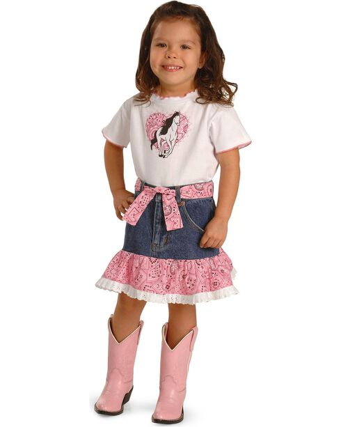 Kiddie Korral Girls' Horse Bandana Skirt Set - 2-6, White, hi-res