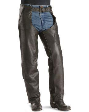 Milwaukee Unisex Gunslinger Leather Motorcycle Chaps, Black, hi-res