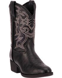 Laredo Boys' Black Hoss Cowboy Boots - Round Toe, , hi-res