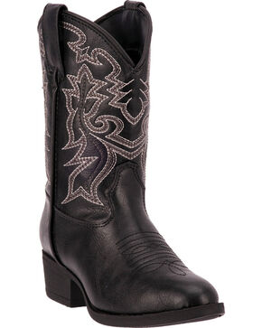 Laredo Boys' Black Hoss Cowboy Boots - Round Toe, Black, hi-res