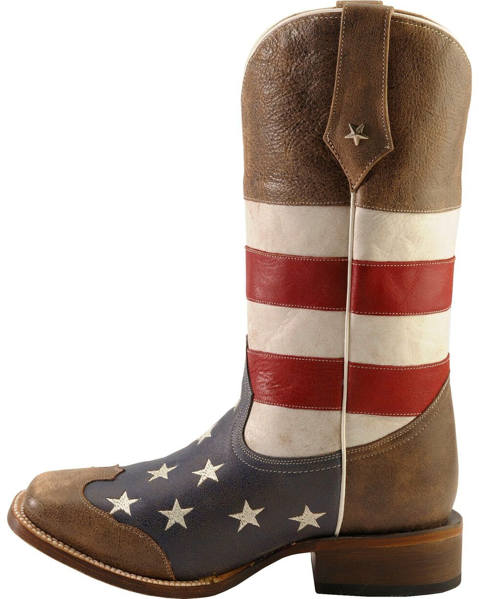 Roper Men's Americana Flag Square Toe Western Boots, Blue, hi-res