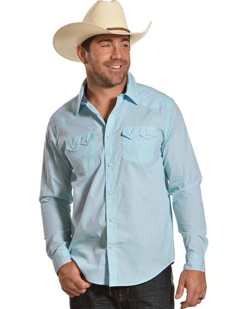 Cody James Men's Revolver Blue Geo Print Long Sleeve Western Snap Shirt, Light Blue, hi-res