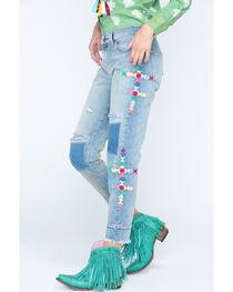 MM Vintage Women's Patchwork Fray Boyfriend Jeans - Straight Leg , , hi-res