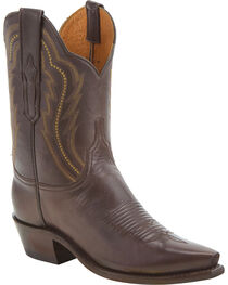 Lucchese Women's Hattie Chocolate Goat Leather Short Western Boots - Snip Toe, , hi-res