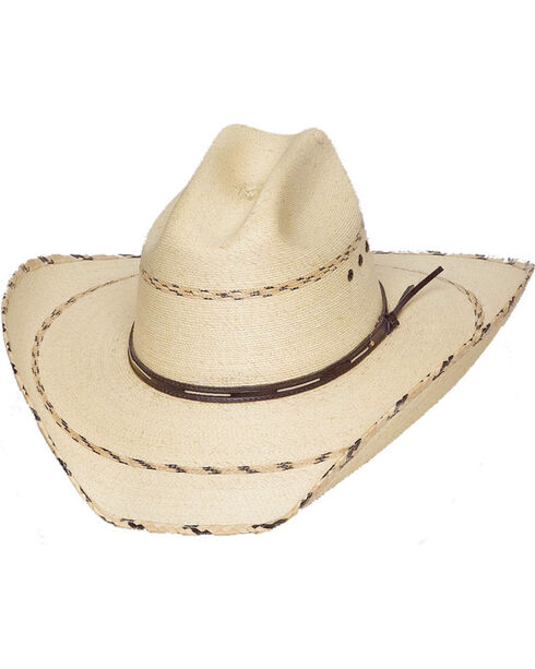 Western Express Men's Striped Palm Western Hat, Ivory, hi-res