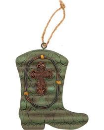 BB Ranch Galvanized Metal Boot and Cross Ornament, , hi-res