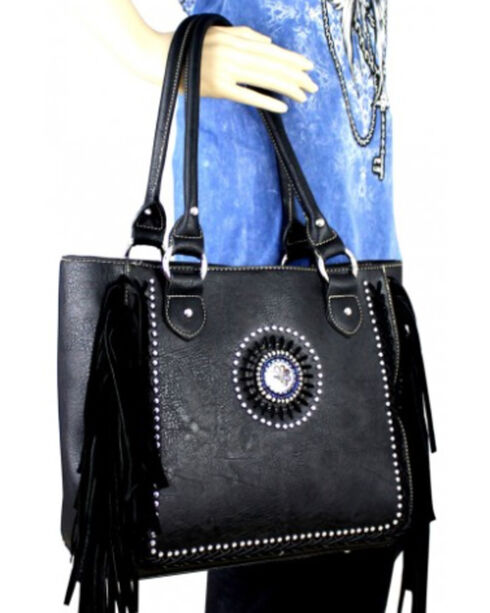 Montana West Black Fringe Collection Braided Lacing Satchel, Black, hi-res